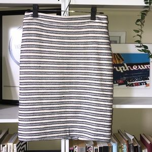 Jcrew Factory navy and white striped pencil skirt